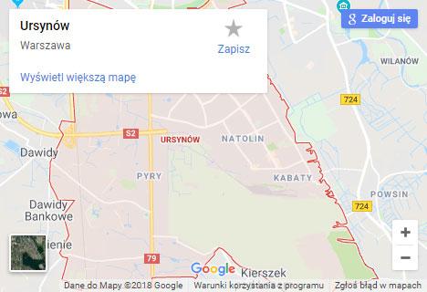 Mapa Google hydraulik Warszawa Ursynów